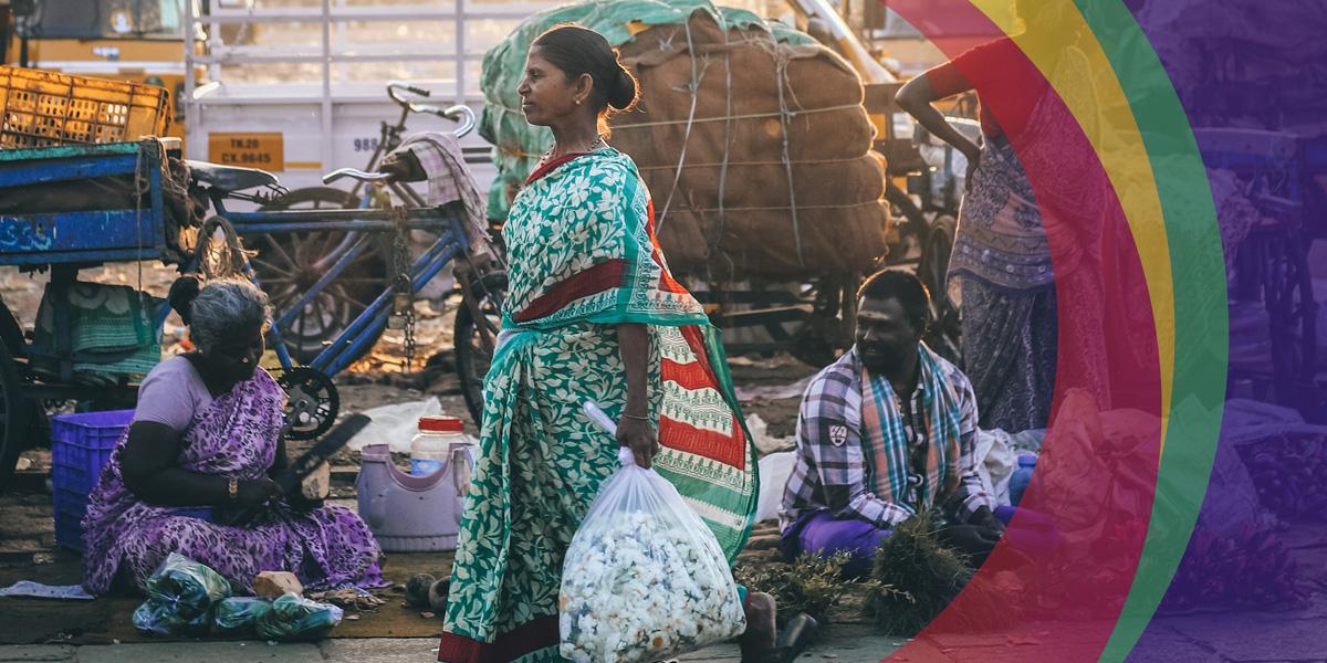 Woman carrying light bag of textiles