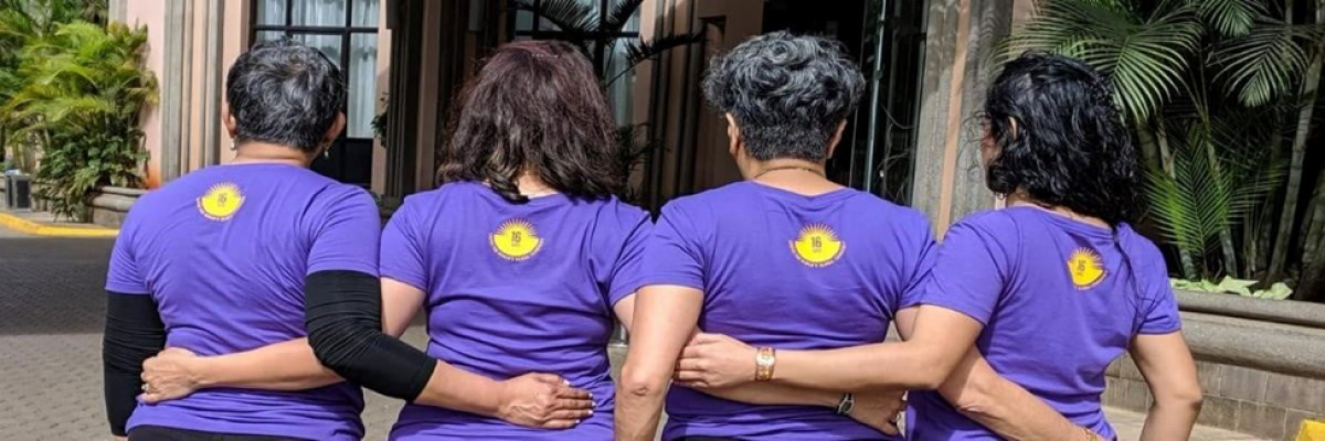 "People wearing ""16 Days of Activism Against Gender-Based Violence"" Campaign T-shirts"